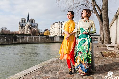 Nao lòng ngắm áo dài Việt tha thướt trên đường phố Paris-2