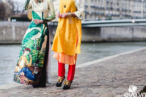 Nao lòng ngắm áo dài Việt tha thướt trên đường phố Paris-14