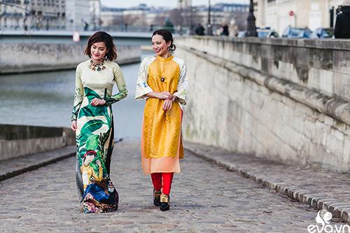 Nao lòng ngắm áo dài Việt tha thướt trên đường phố Paris-3