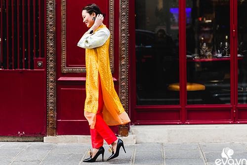 Nao lòng ngắm áo dài Việt tha thướt trên đường phố Paris-6
