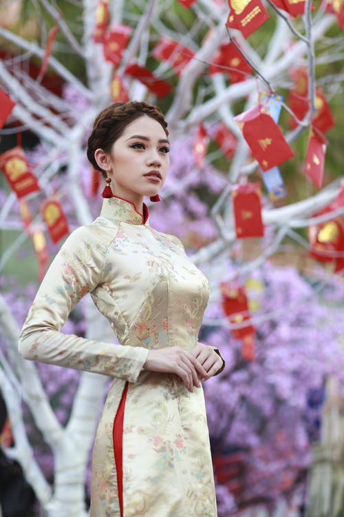 Hoa hậu Việt kiều hân hoan lần đầu mặc áo dài đón xuân-6