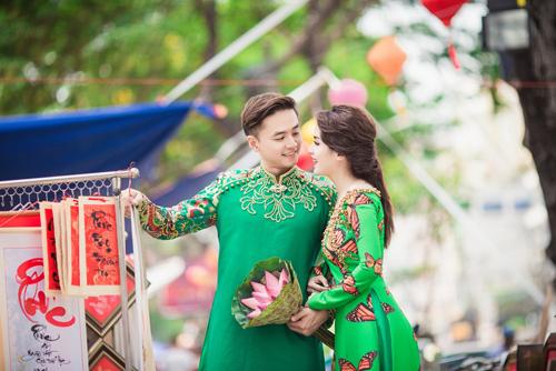 Tú Vi - Văn Anh diện áo dài ngọt ngào sánh đôi-2