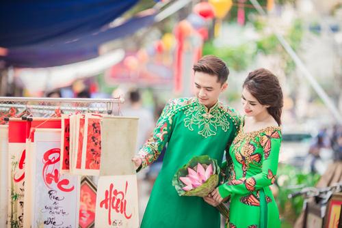 Tú Vi - Văn Anh diện áo dài ngọt ngào sánh đôi-4