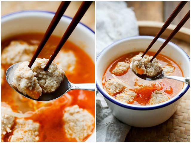 Canh cà chua thịt viên nóng hổi, thơm ngọt cho cả nhà
