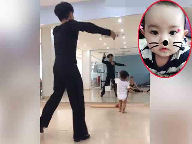 Con trai Khánh Thi cong mông tập nhảy với bố mẹ hết sức đáng yêu