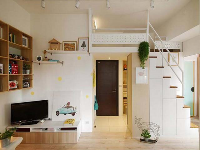 Căn hộ chung cư 45m2 nhân đôi diện tích nhờ thiết kế gác lửng tiện lợi