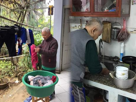 Choáng với bố chồng giúp con dâu phơi quần áo, rửa bát, may váy cho cháu