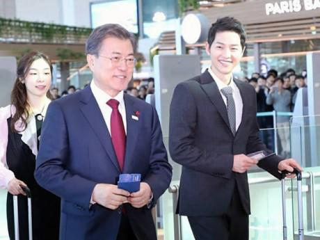 Đi gặp Tổng thống Hàn Quốc, Song Joong Ki đẹp trai ngời ngời