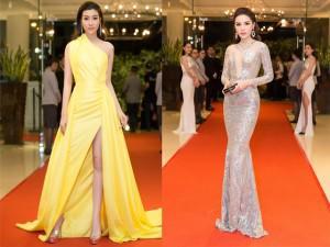Hoa hậu Đỗ Mỹ Linh đọ dáng nóng bỏng với Kỳ Duyên trên thảm đỏ đình đám