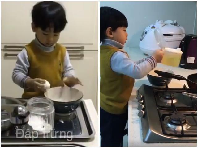 Gặp mẹ bé trai 3 tuổi biết tự vào bếp rán bánh để nghe kinh nghiệm dạy con tự lập