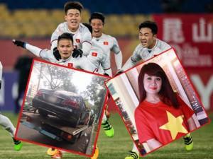 Mừng cho U23 Việt Nam, Lưu Thiên Hương tông cả xe hơi vào cột điện