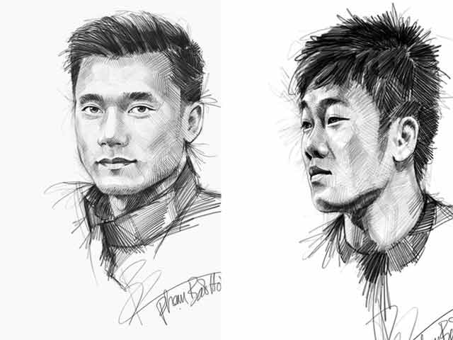 Bộ tranh vẽ các cầu thủ đội tuyển U23 Việt Nam bằng bút chì gây sốt