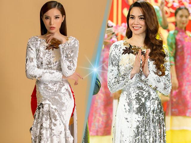 Mới đầu năm Hồ Ngọc Hà đã đụng hàng áo dài với Hoa hậu Kỳ Duyên