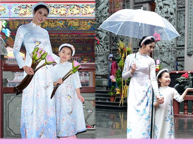 Ngọc Hân rạng rỡ diện áo dài đôi với mẫu nhí mang hai dòng máu Hoa - Việt