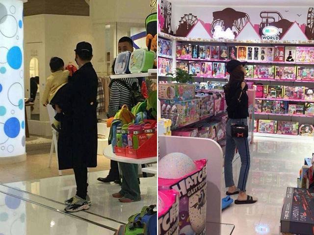 Bắt gặp Angelababy mang dép lê cùng Huỳnh Hiểu Minh đi mua đồ cho con trai