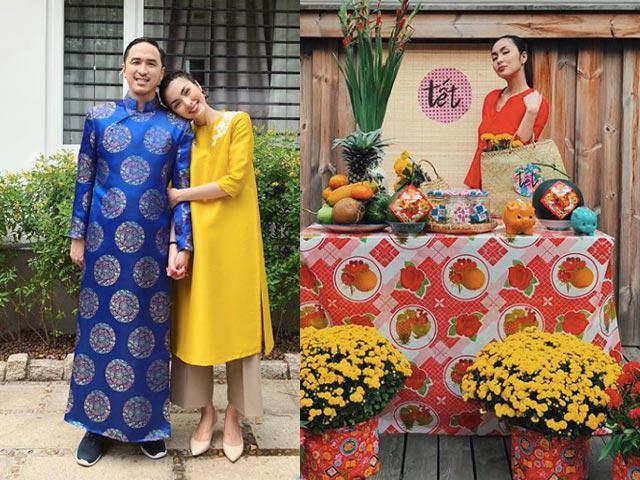 Vợ chồng Tăng Thanh Hà diện áo dài, nắm chặt tay nhau hạnh phúc trong ngày Tết