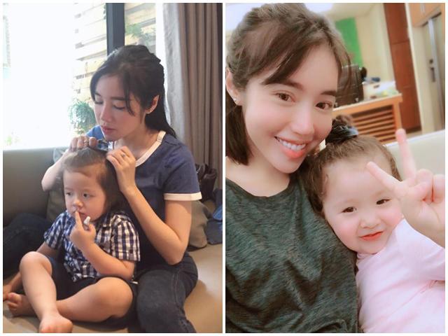Mẹ 2 con Elly Trần trổ tài cột tóc cho con trai khéo tay vô cùng