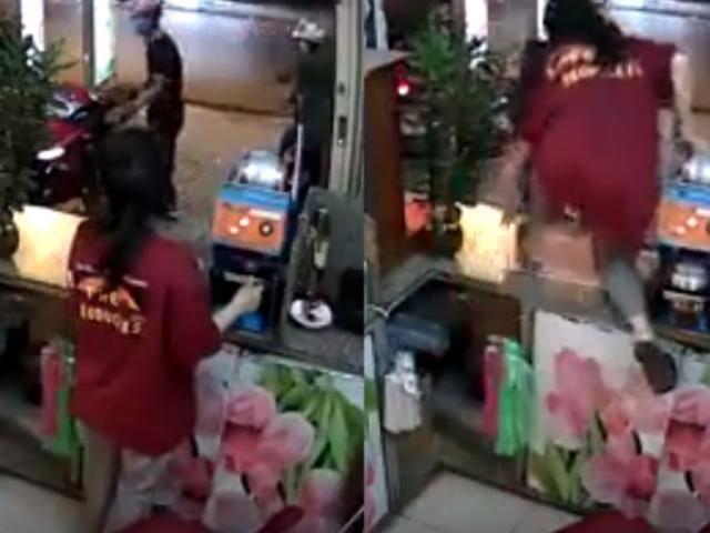 Nữ ninja phi thân qua bàn kính giật lại xe máy từ tên cướp liều lĩnh