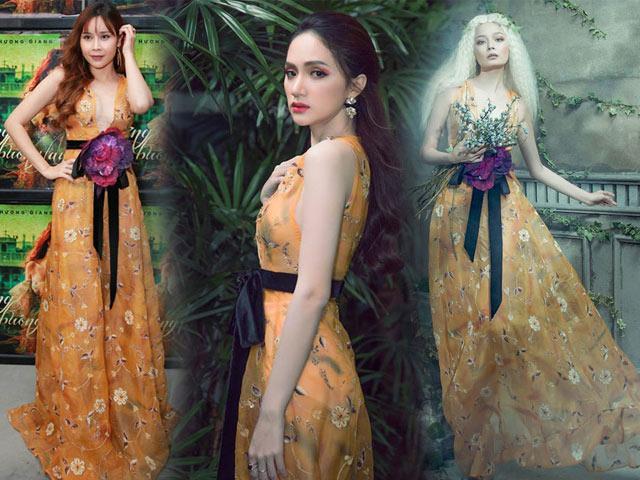 Hoa hậu Hương Giang đẹp lấn lướt đàn chị cùng tên khi đụng váy rực rỡ