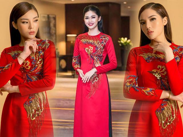 Hoa hậu Kỳ Duyên lần đầu đụng hàng áo dài đỏ rực với Á hậu Thanh Tú