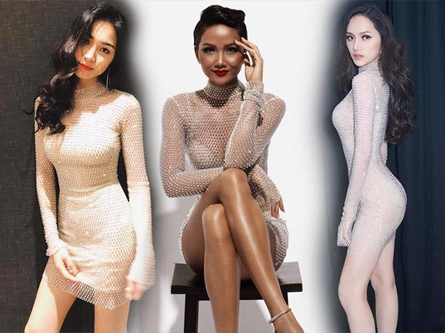 Đọ trình diện váy xuyên thấu hai Hoa hậu đình đám Vbiz Hương Giang và H Hen Niê