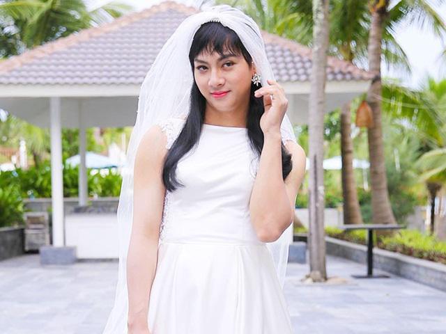 Con nuôi Hoài Linh mặc áo cô dâu, đi giày cao gót nhiều giờ vì Yêu em bất chấp