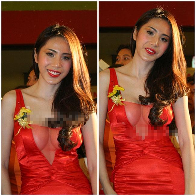 Thủy Tiên gây sốt lễ trao giải Mai Vàng năm 2011 bằng bộ váy đỏ rực khoét sâu khoe đôi gò bồng đảo lấp ló, căng tròn như... chiếc bát.