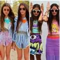 Cặp chị em gây sốt với thời trang đôi màu sắc