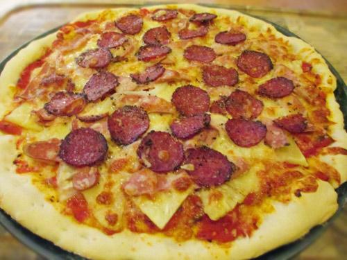 cach lam pizza dua xuc xich - 5