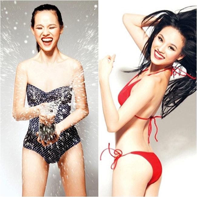 Sao Việt phô diễn ngực phẳng lỳ với bikini