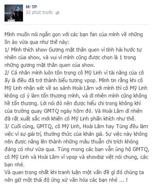 "my linh, son tung noi ve vu on ao ""hat live"" - 7"