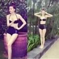 Làng sao - Hà Hồ mặc bikini khoe chân dài miên man