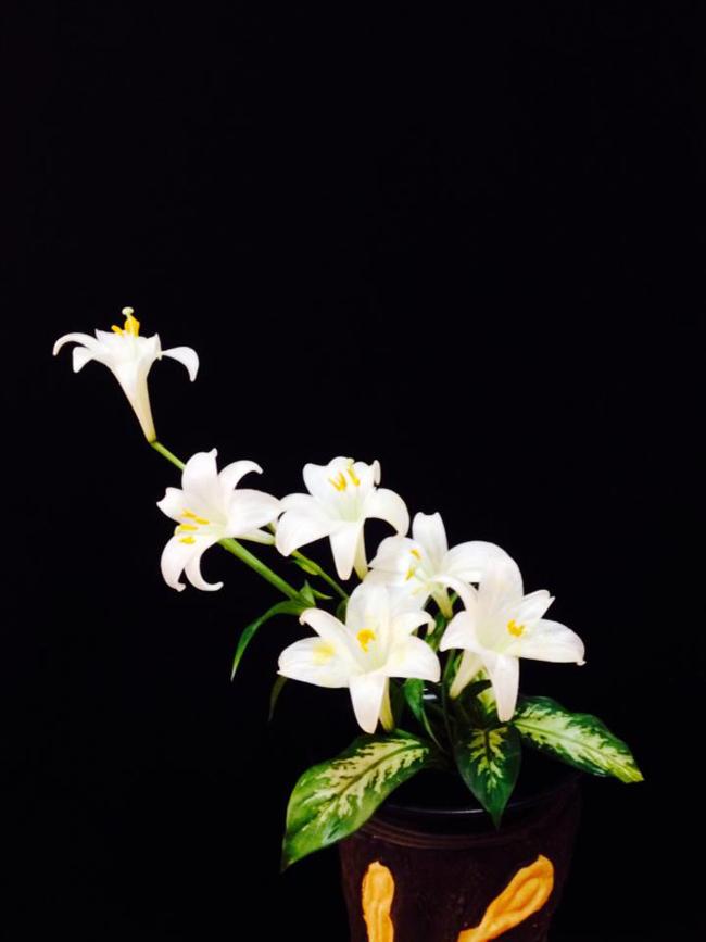 Bình hoa cắm theo phong cách Nhật Bản Ikebana của chị Nguyễn Thu Nga.
