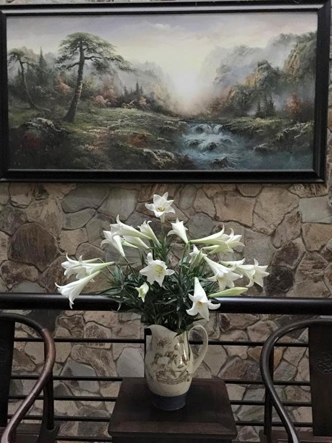 Bình loa kèn dịu dàng của chị Phạm Thanh Trâm điểm tô thêm cho không gian nhà đẹp