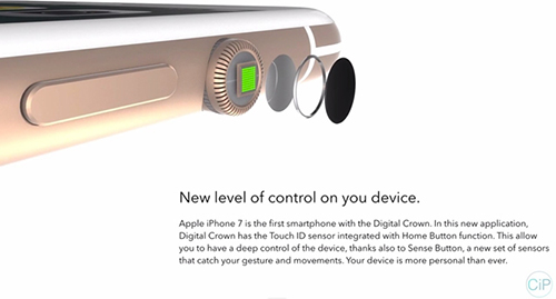 """y tuong iphone 7 """"di"""" voi nut vong xoay cua apple watch - 2"""
