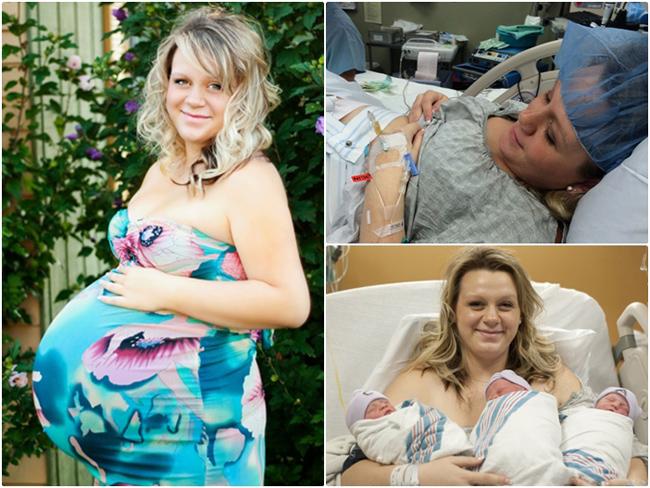 Dù mang bầu 3 nhưng không như nhiều mẹ bầu khác, mẹ Brittany Yankowski, hiện đang sinh sống ở bang Ohio, Mỹ trải qua 9 tháng khá khỏe mạnh. Điều đặc biệt là cô đã chọn sinh thường và đón 3 con một cách thật hoàn hảo mà không sử dụng đến phương pháp dao kéo.