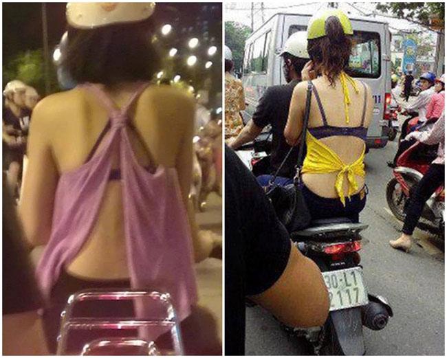 Những chiếc áo khoe lưng trần, để lộ áo lót ngày càng trở nên phổ biến trên đường phố Việt.