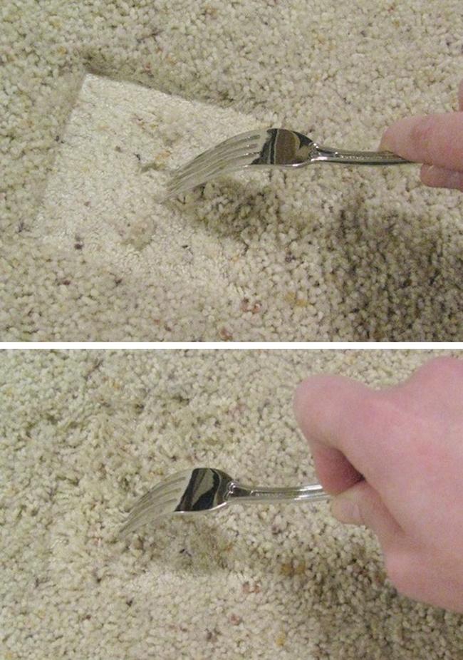 Dĩa có thể giúp bạn làm bông lại những sợi lông trên thảm sau một thời gian bị đè bởi vật nặng như chân bàn, chân ghế.