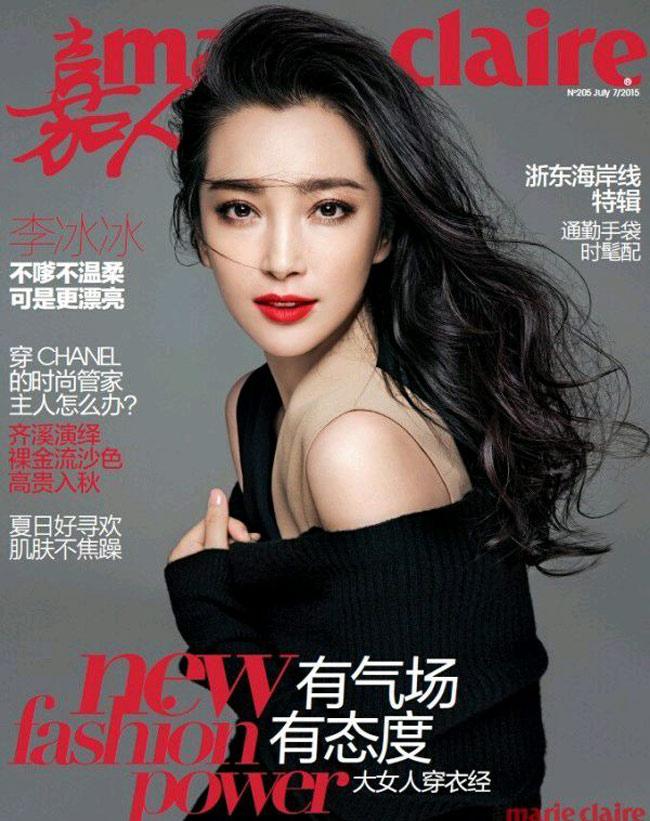 Lý Băng Băng rạng rỡ trên trang bìa tạp chí Marie Claire số tháng 7/2015.