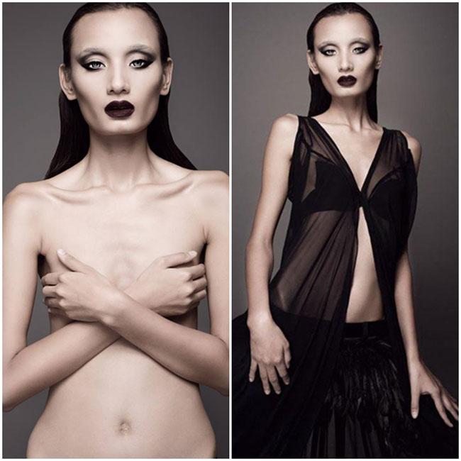 Một trong những bộ ảnh ma mị, gây ám ảnh của Lê Thúy không chỉ bởi cách hóa trang mà còn bởi thân hình gầy gò của nữ người mẫu.