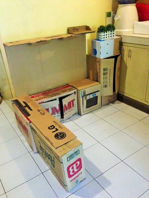 Nhà bếp từ thùng giấy cho bé đẹp ngang ngửa đồ chơi tiền triệu-2