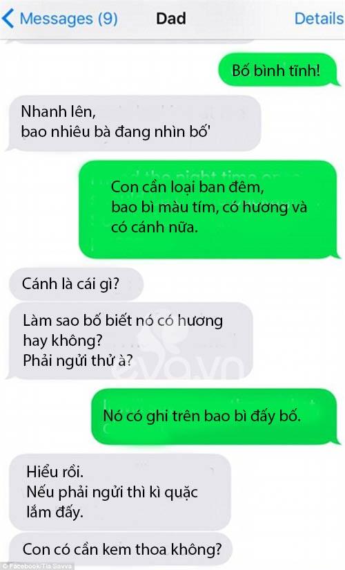 tin nhan de thuong cua bo di mua bang ve sinh cho con gai - 3