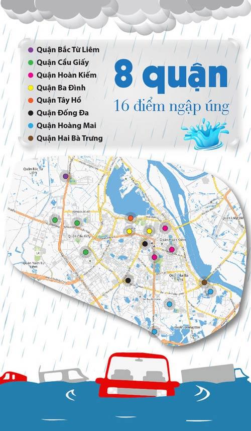 [Infographic] 16 điểm ngập sâu khi mưa lớn ở Hà Nội-1