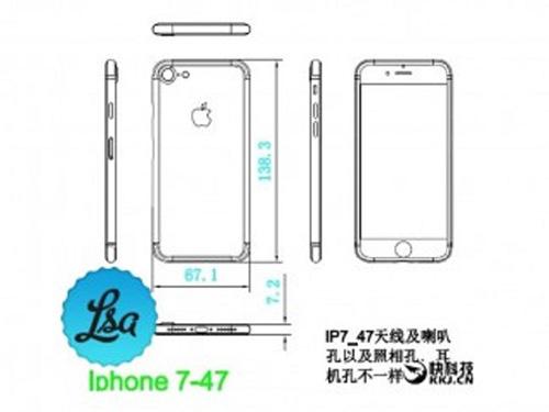lo bản thiét ké kích thuóc iphone 7 và iphone 7 plus - 1