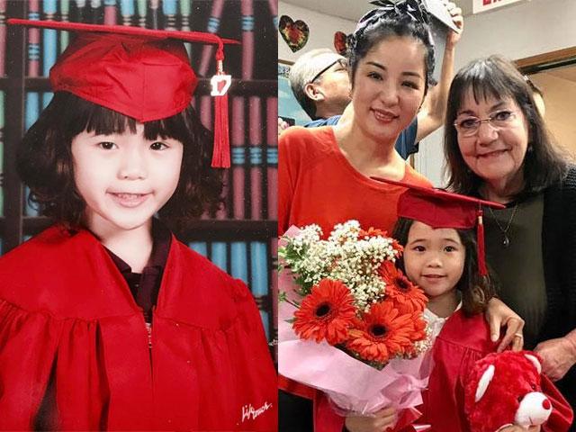 Con gái Thúy Nga đỏ rực trong ngày tốt nghiệp mẫu giáo ở Mỹ