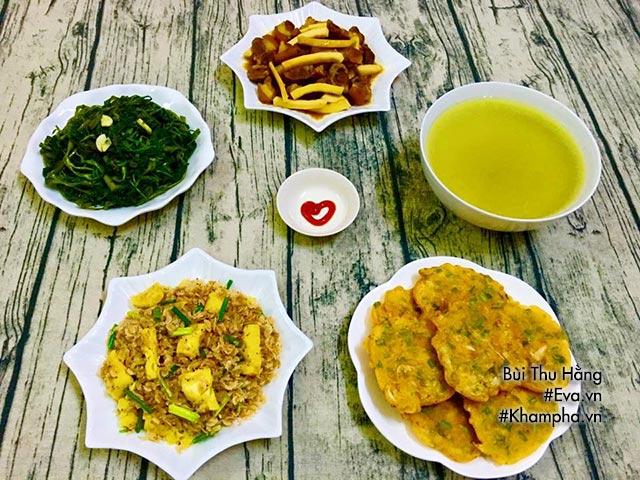 Bữa cơm chiều cả nhà ai cũng muốn ăn với thịt kho dừa, rau muống xào tỏi