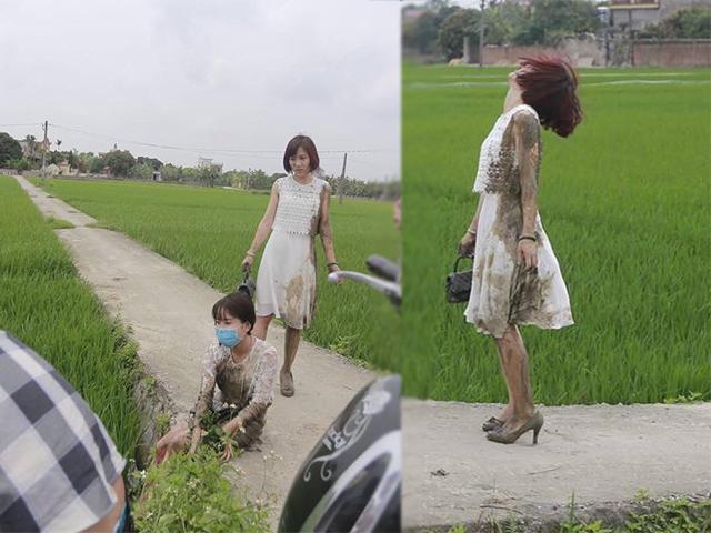 Xúng xính xinh đẹp đi đám cưới, hai cô gái váy trắng tinh khôi lao luôn xuống ruộng