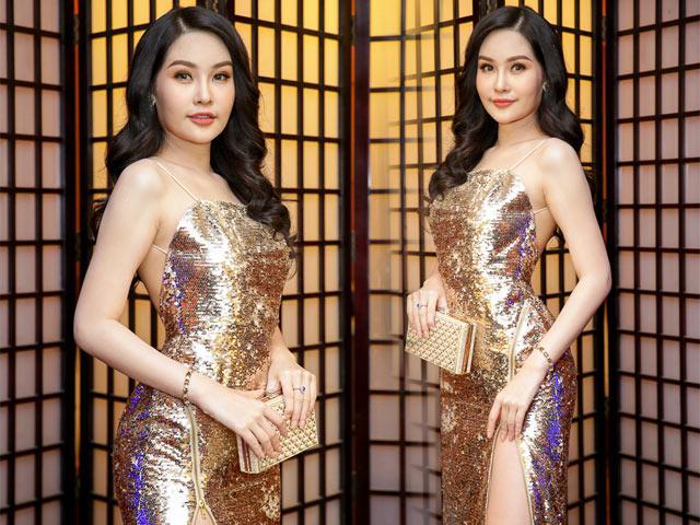 Hoa hậu Lê Âu Ngân Anh tái xuất với váy ánh kim lấp lánh đầy gợi cảm tại VIFW