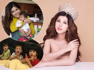"""Hoa hậu tự nhận """"nghiện đẻ"""", 4 lần sinh con vẫn làm mẹ đơn thân"""