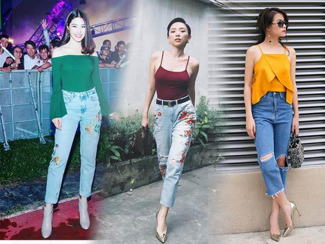 Hãy học Tóc Tiên, Hà Tăng phối màu áo hợp cạ với màu quần jeans